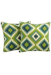 Printed Cushion Cover Green (Set Of 2)