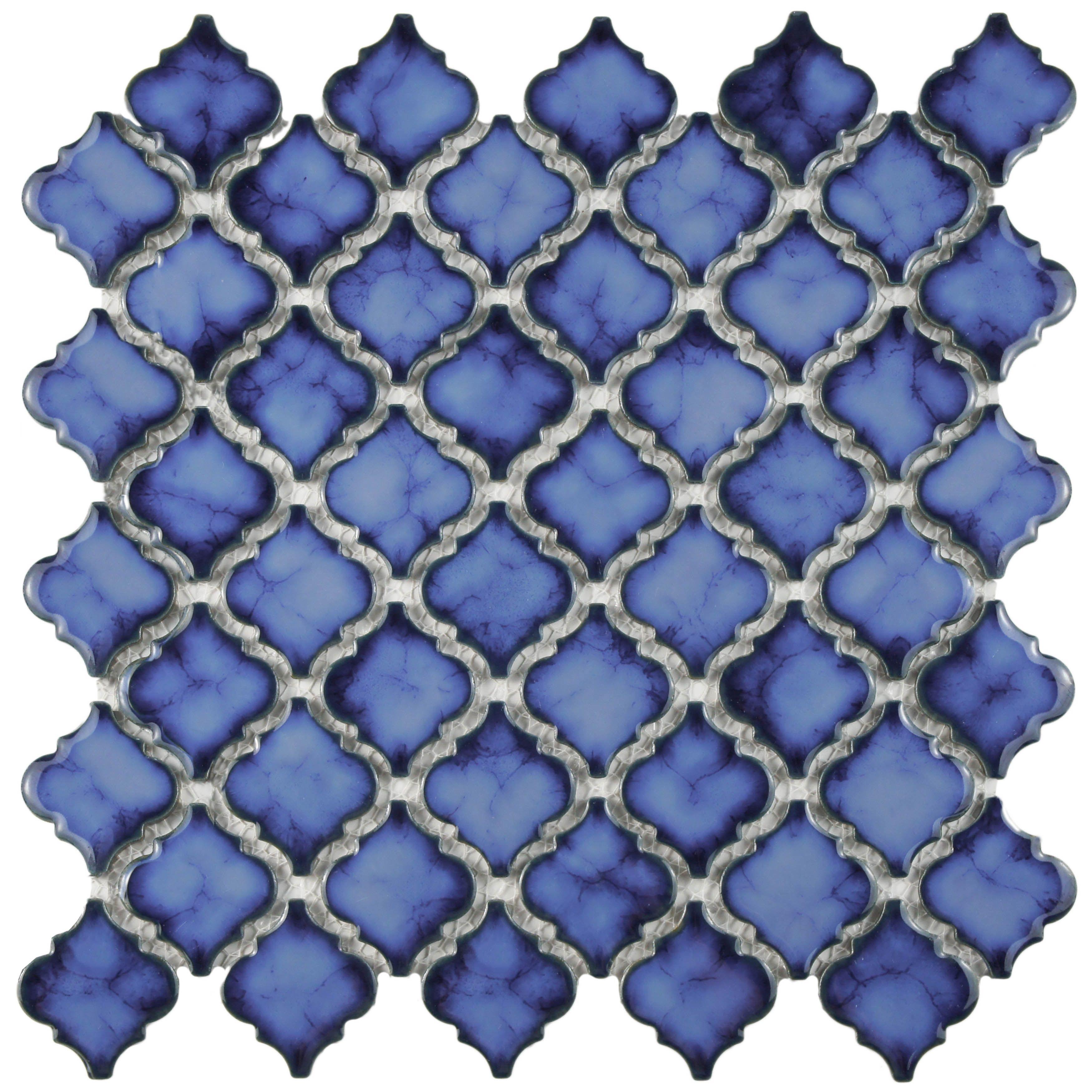 SomerTile 12.5 x 12.375-inch Antaeus Sapphire Porcelain Mosaic Floor ...