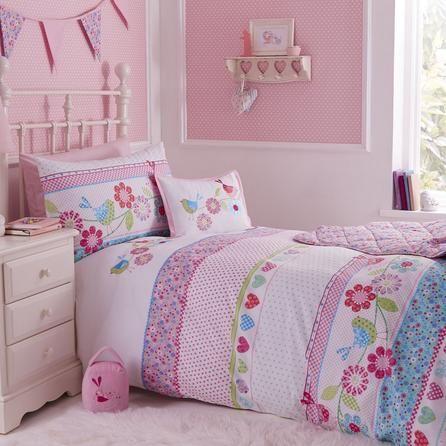 Dunelm Floral Embroidered Pink Songbird Cot Bed Duvet