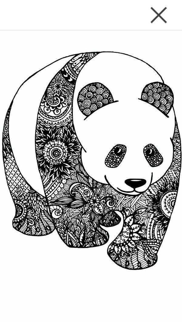 Image result for colored zentangle panda | Zen tangle ...