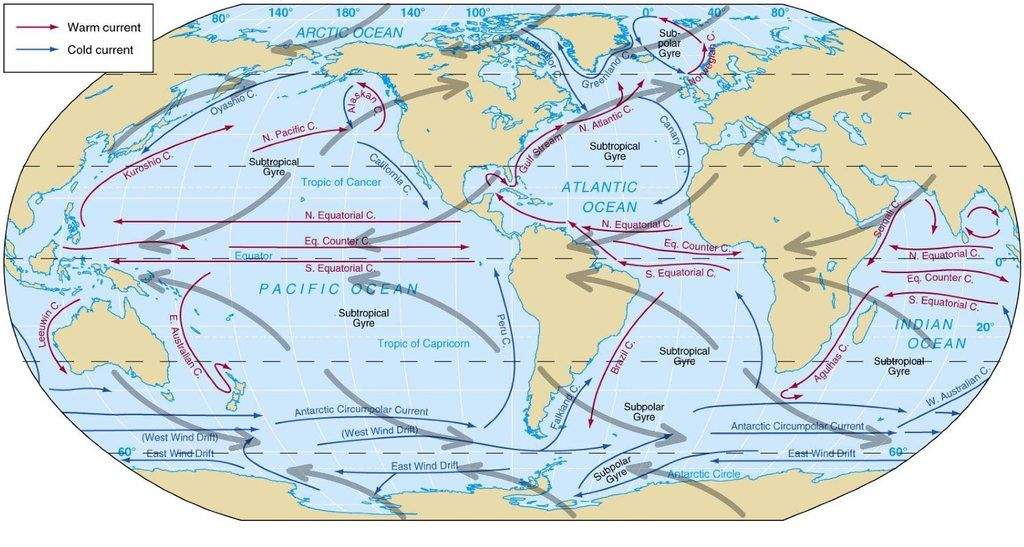 Global Ocean Circulation 1493 X 797 Click Here For More Maps