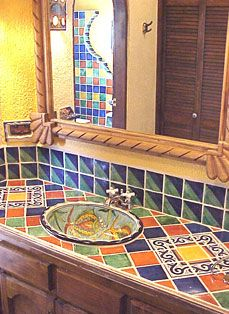 mexican style bathrooms Hand Painted Mexican Sink Deltec