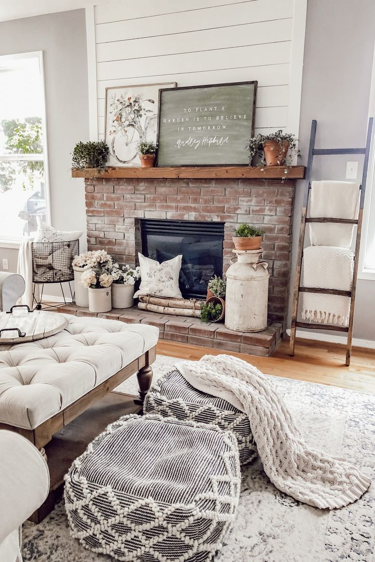 Photo of A Neutral & Floral Cottage Style Spring Fireplace Mantle