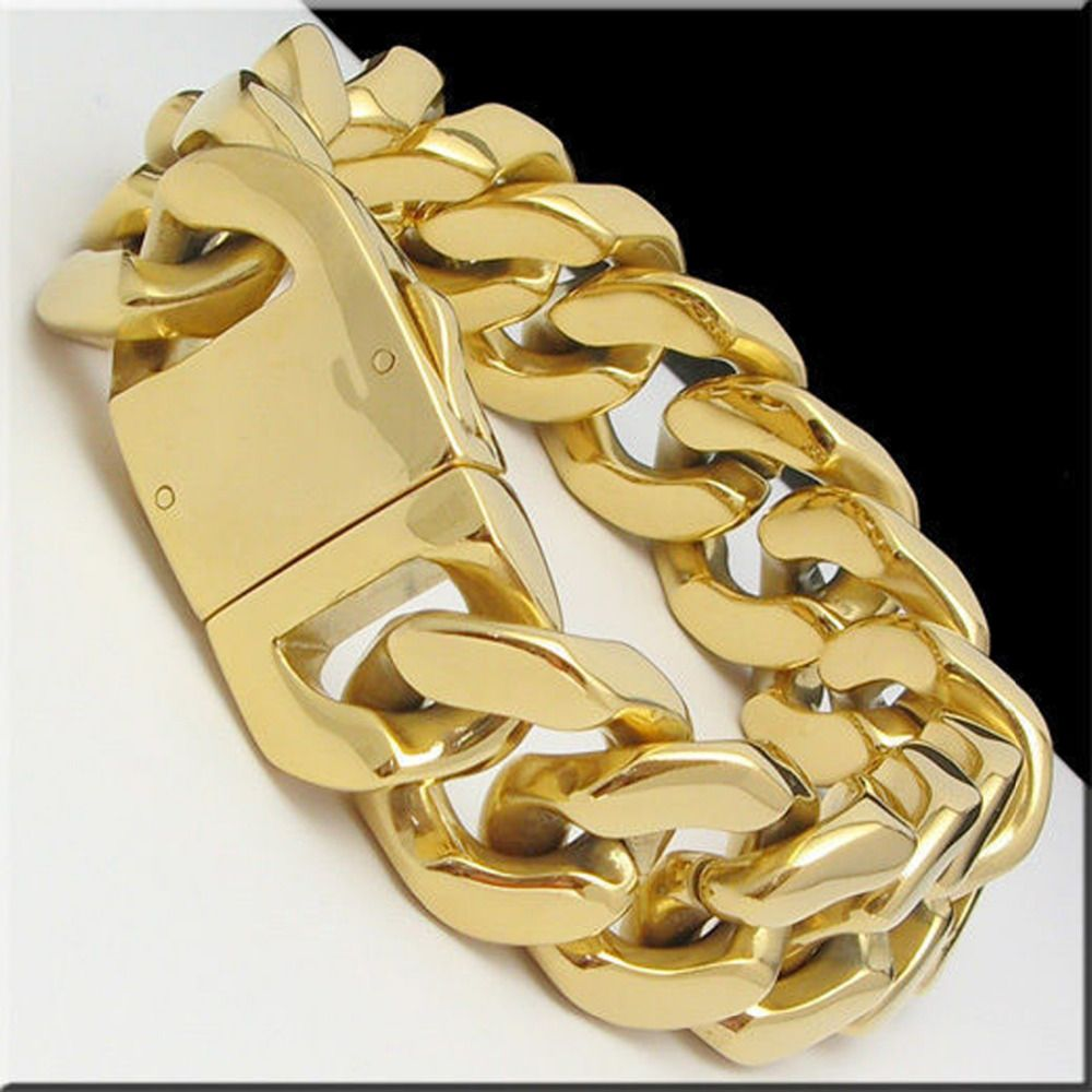 New arrive fashion mens hip hop gold tone stainless steel heavy wide
