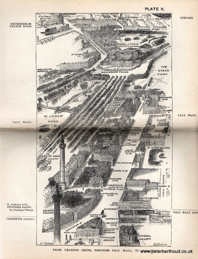 The Mall London Map.Herbert Fry S 1880 Bird S Eye Views Of The Principal Streets From