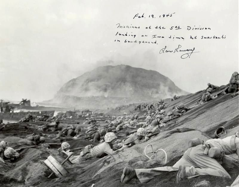 Image result for marines land on iwo jima