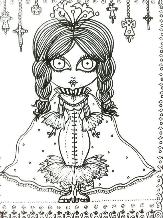 Vampire Vixens Coloring Book Page Goth Gothic Halloween Fantasy ...
