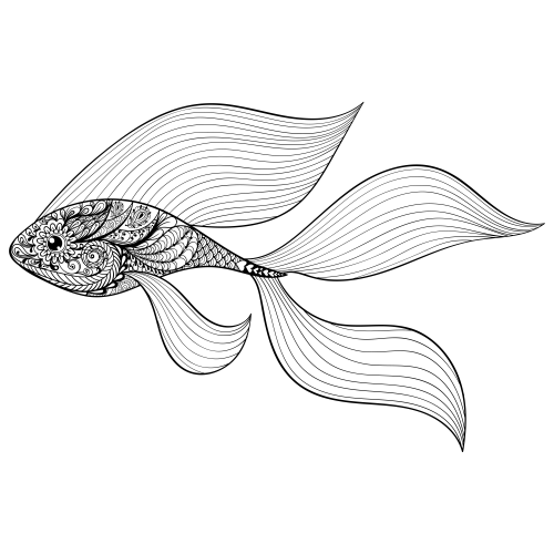 Free Printable Goldfish Coloring Page | 鱼 | Coloring pages, Adult ...