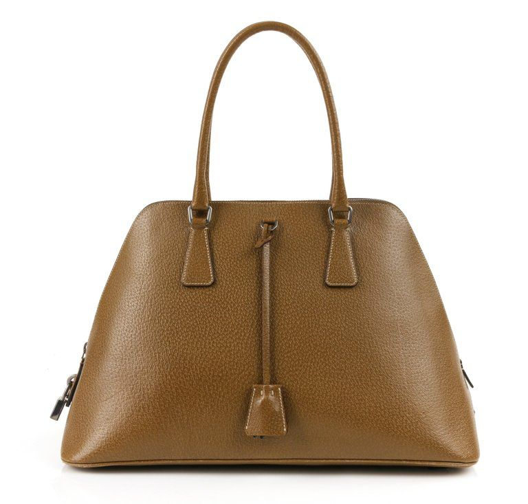 ae20cbbcf93 PRADA Olive Brown Leather Structured Top Handle Trapezoid Satchel Purse |  From a unique collection of