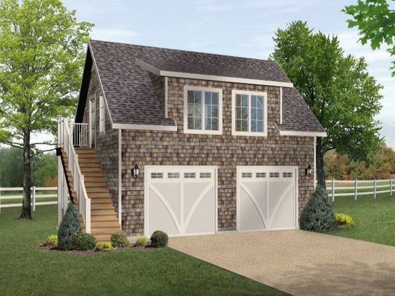 One Bedroom Garage Apartment Over Two Car Garage Plan Prefab Garages Garage Apartment Plan Garage Loft