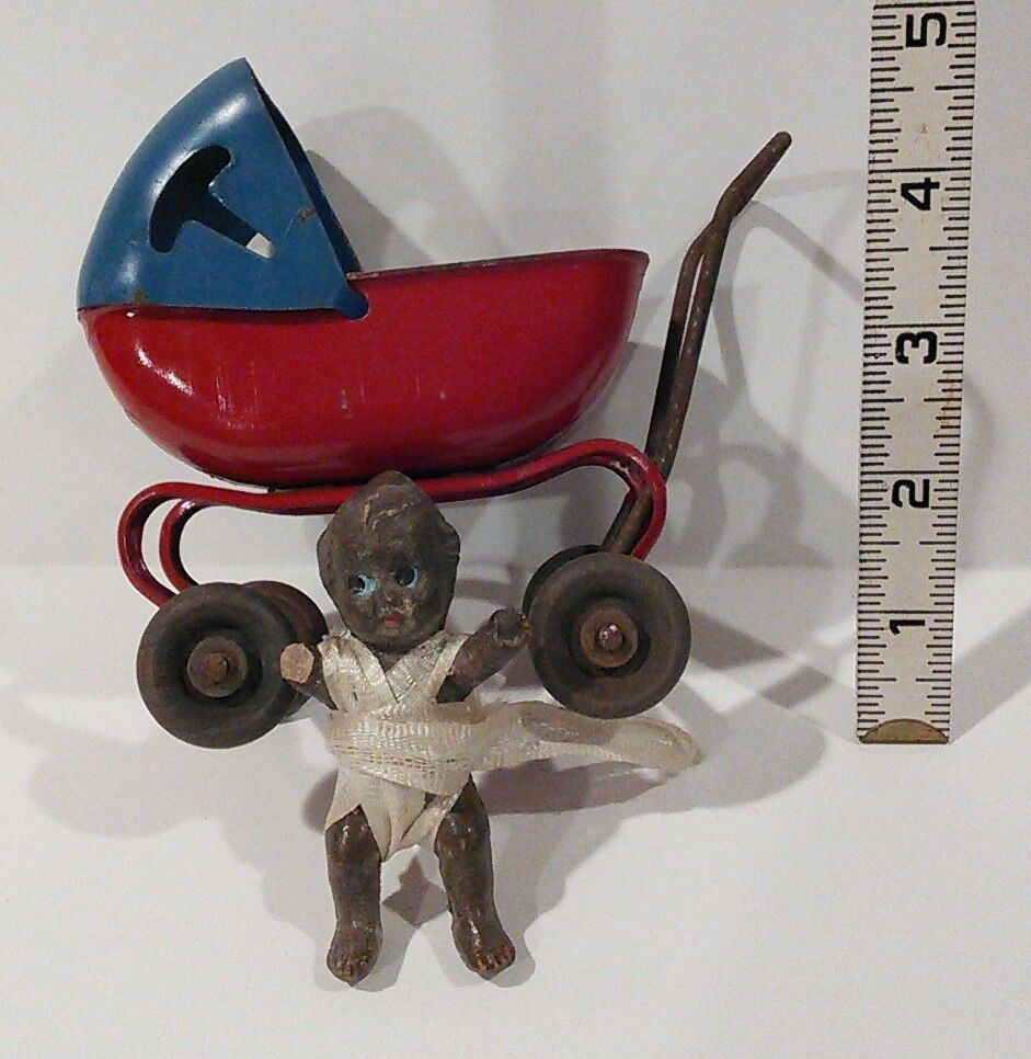 Vintage Metal Toy Stroller Buggy With African American