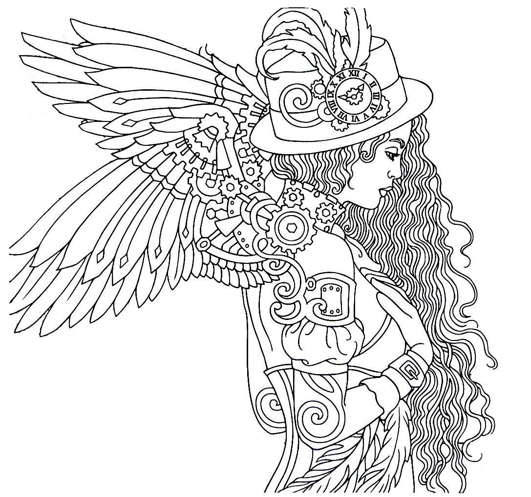 Steampunk Printable Coloring Book Page Easy To Medium Difficulty Coloring Steampunk Coloring Steampunk Printables Printable Coloring Book