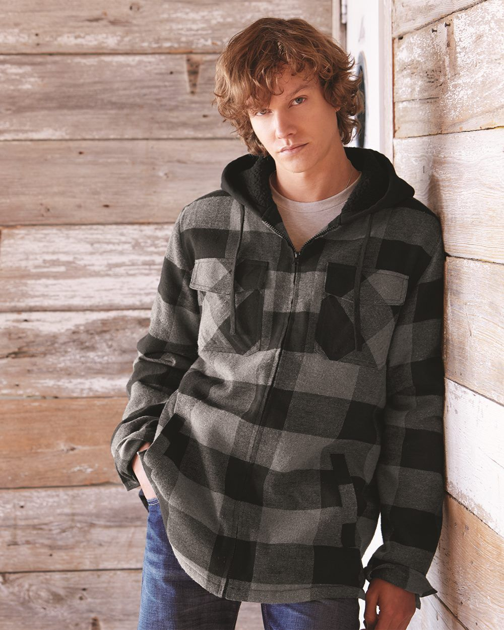 Burnside Quilted Flannel Full Zip Hooded Jacket 8620 Flannel Hoodie Hooded Flannel Flannel Jacket
