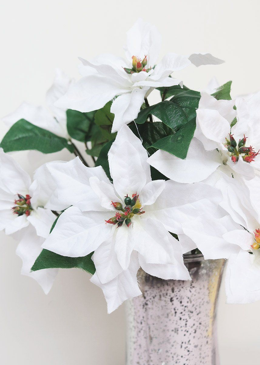 Artificial Indoor Outdoor Water Resistant Poinsettia Bush In White 15 Tall Christmas Flowers Holiday Flower Outdoor Vases