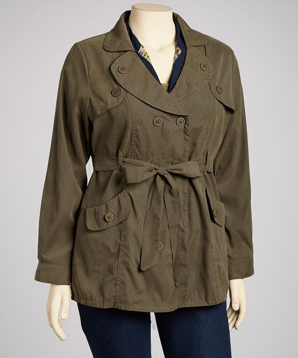 Take a look at this Olive Double-Breasted Jacket - Plus on zulily today!