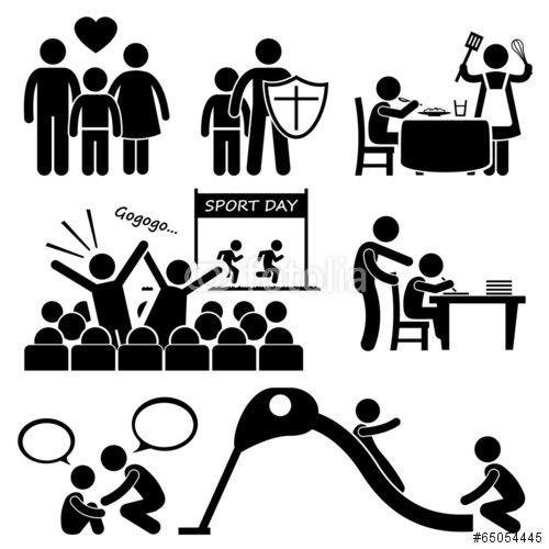 Vektor Children Needs Parent Love Cliparts Strichm Piktogramm