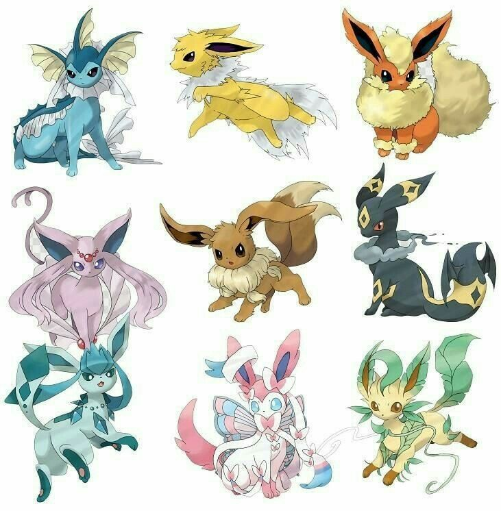 Eevee Evolutions Flareon Jolteon Glaceon Leafeon Umbreon Espeon Sylveon Vaporeon Mega Evolutions Pokemon Dessin Pokemon Pokemon Evoli Pokemon