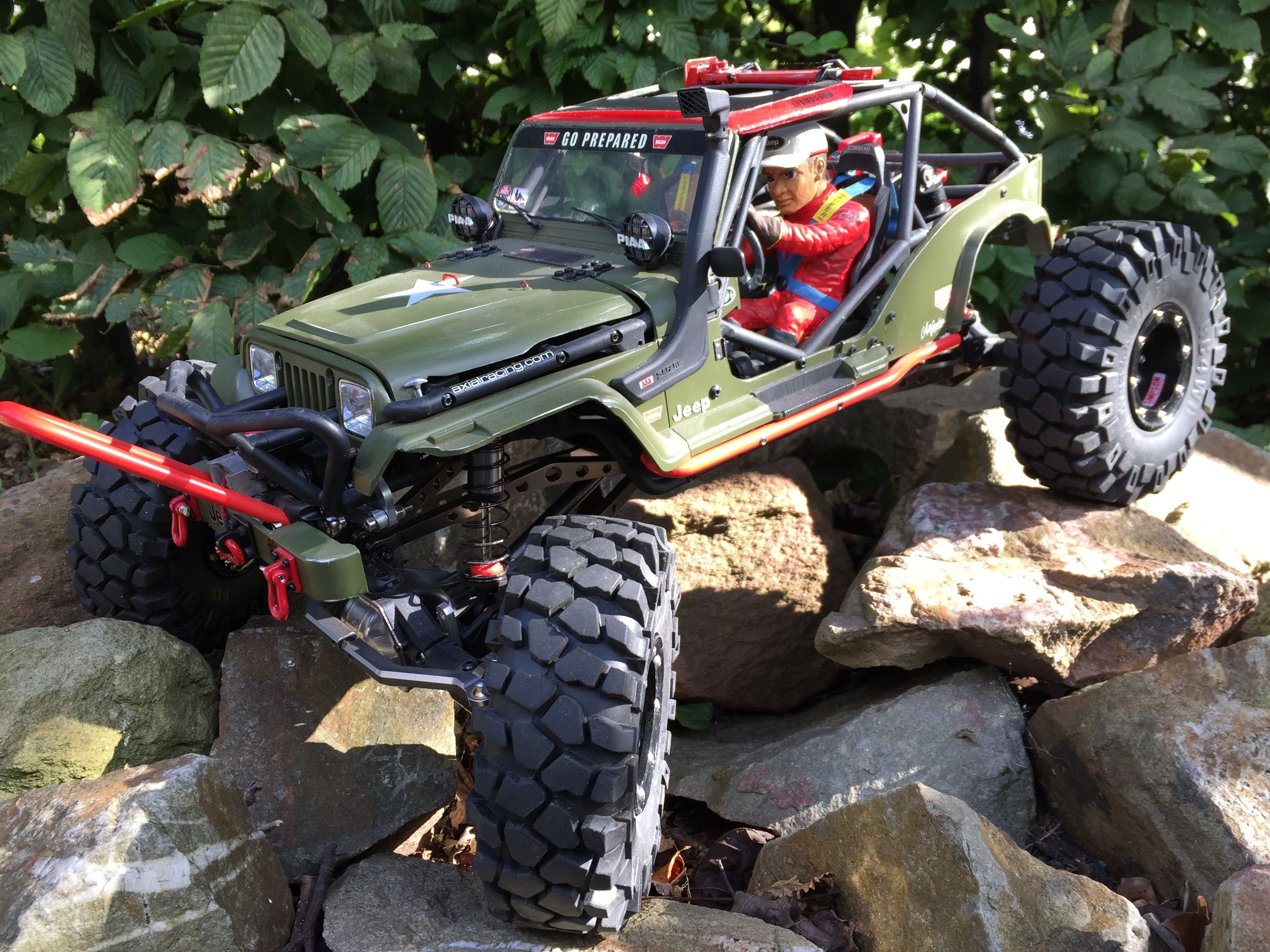 Axial Wraith Chassis With A Tamiya Jeep Body Hard Plastic