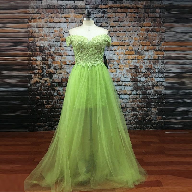 Sexy Lime Green Long Prom Dresses 2017 Lace Appliques Beaded See Through Sexy Evening Dresses Vestidos De Graduacion Party Gown