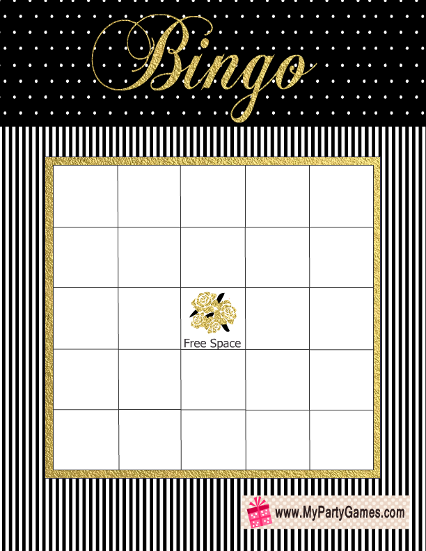 bridal shower gift bingo card in black white and gold colors