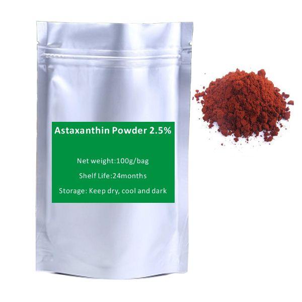 Free shipping 100g NATURAL Astaxanthin 2.5% Powder Food Grade  Anti aging  Antioxidant Health Food Products