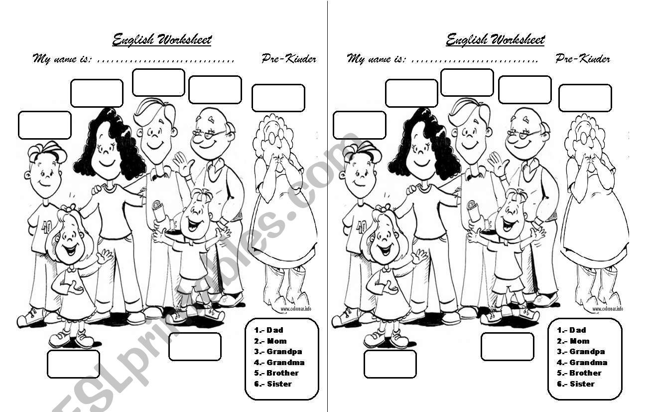 Students Have To Number The Family Members As Indicated Or It Can Be Pronunced For Those Little Pre School Kids Who Don Family Members Worksheets Kids School