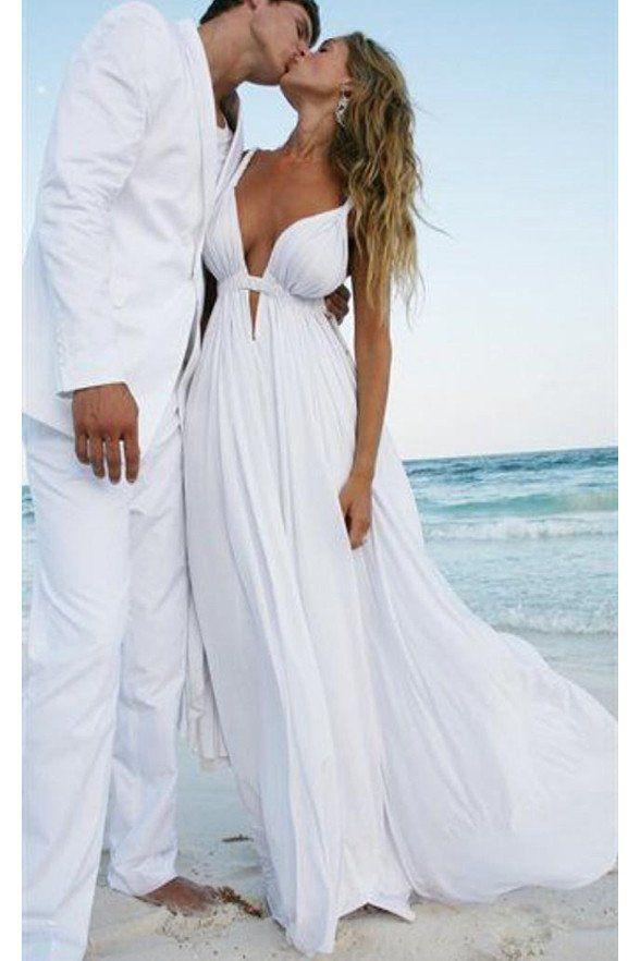 Y Deep V Neck White Chiffon Beach Elegant Bridal Wedding Dresses Ld147