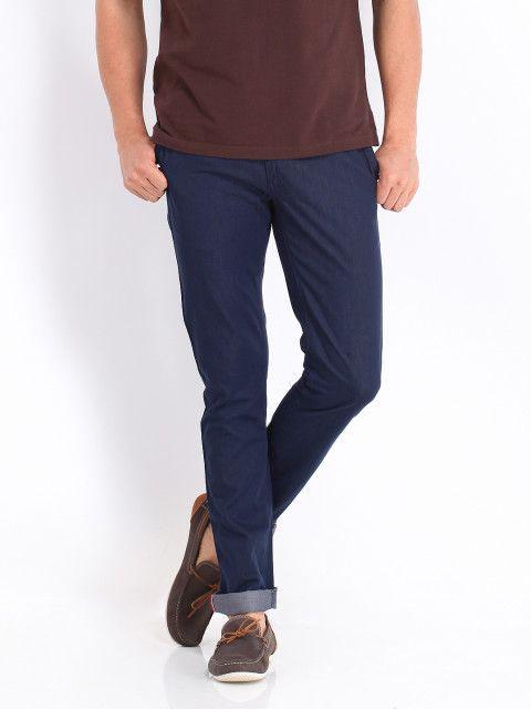 Buy Allen Solly Men Blue Smart Fit Trousers Trousers for
