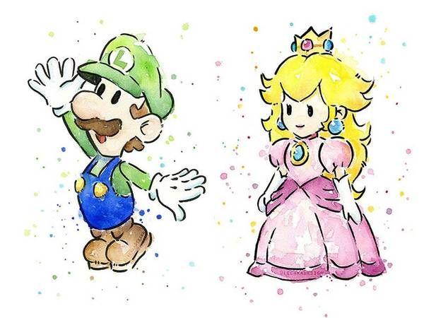 Super Mario Bros Themed Portrait Watercolor Art Prints Dessin Jeux Video Dessin Kawaii Dessins Faciles