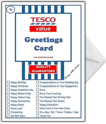 Supermarket Spoof Card Tesco Super Value For Any Occasion Funny