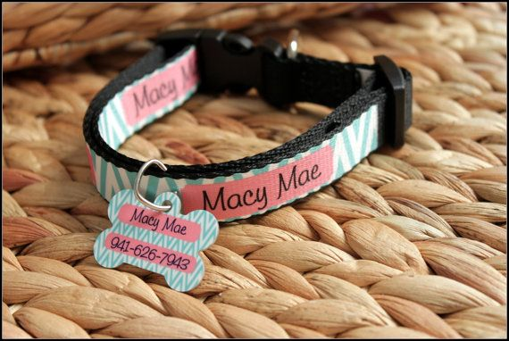 Personalized Dog Collar Dog Tag Pet ID Tag Combination Set Adjustable Custom Dog…