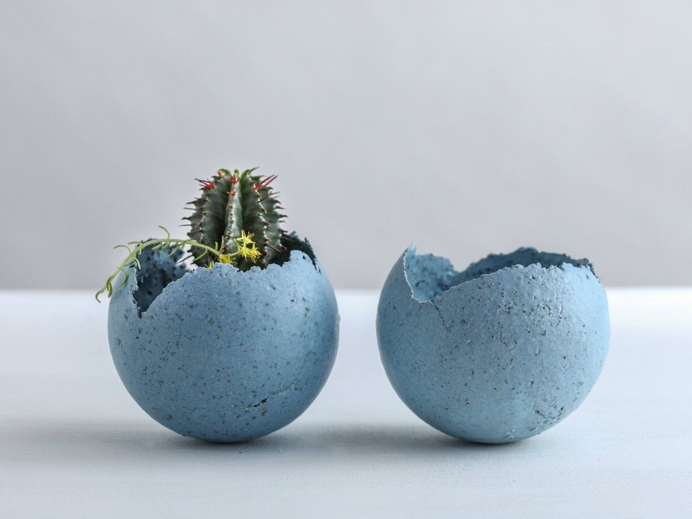 Set Of 2 Small Grained Light Blue Ceramic Planters Etsy In 2020 Contemporary Candle Holders Ceramic Planters Blue Ceramics