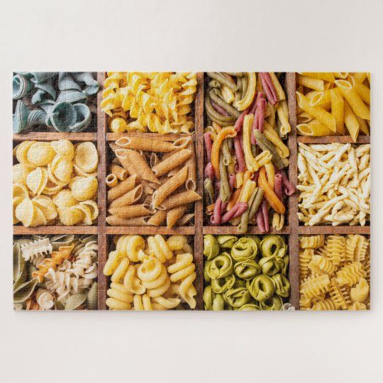 Colorful Varieties of Pasta Food Jigsaw Puzzle #food #italian #mediteranean #cuisine #dinner #jigsaw #puzzle #jigsawpuzzle #gifts #fun #stockingstuffers #games