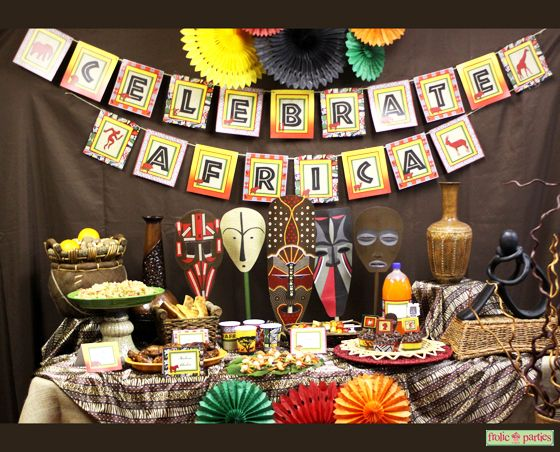 Celebrate africa printable party supplies african safari for Animal print party decoration ideas