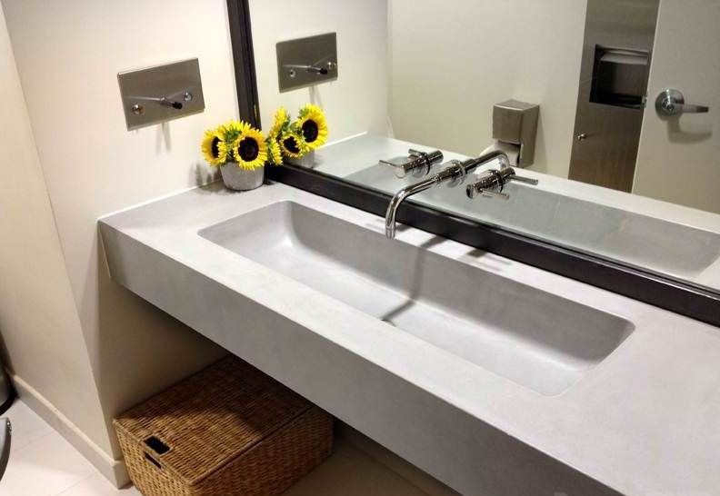 Floating Trough Sink With Trueform Concrete Top For Elegant