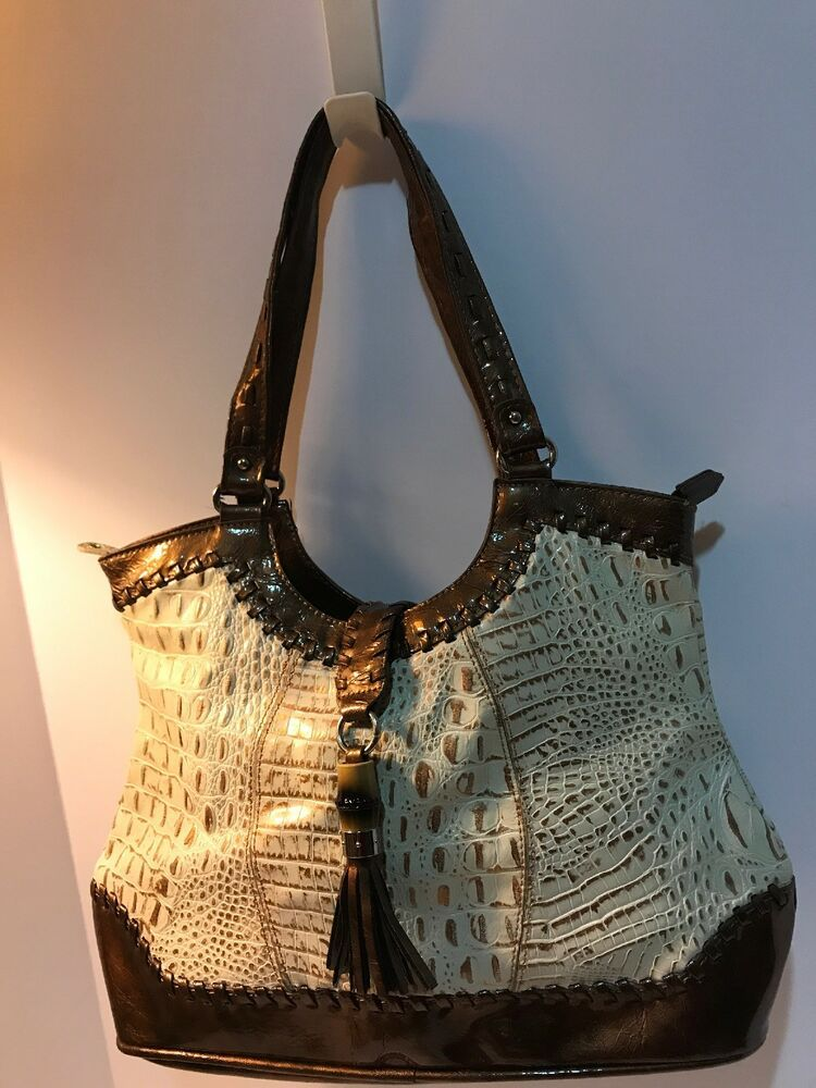 b1afd10412 MC Purse Handbag Shoulder Bag Croc Snake Embossed Leather Gold Beige Brown  XL