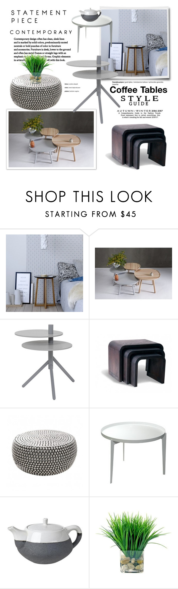 """""""Statement Piece: Coffee Table"""" by cruzeirodotejo ❤ liked on Polyvore featuring interior, interiors, interior design, home, home decor, interior decorating, Bloomingville, Covo, Broste Copenhagen and Home"""
