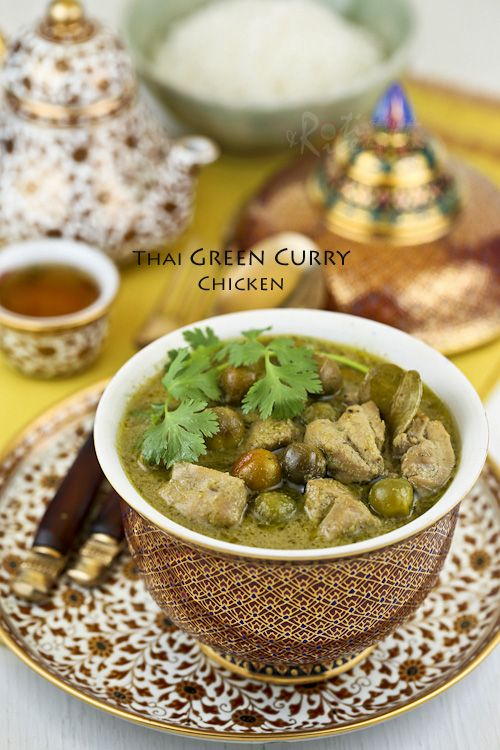 Make your own fragrant green curry spice paste from scratch for this Thai Green Curry Chicken with pea eggplants. So delicious with steamed Jasmine rice. #thaifood #greencurry #chickencurry