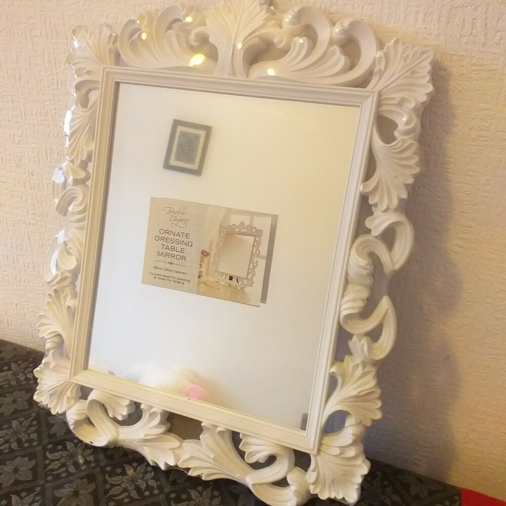 Details About Vintage Ornate White Dressing Table Mirror Rectangle