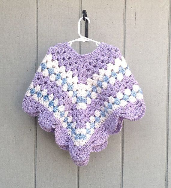 Child crochet poncho - Girls crocheted shawl - Girls clothing - Girls poncho #crochetponchokids