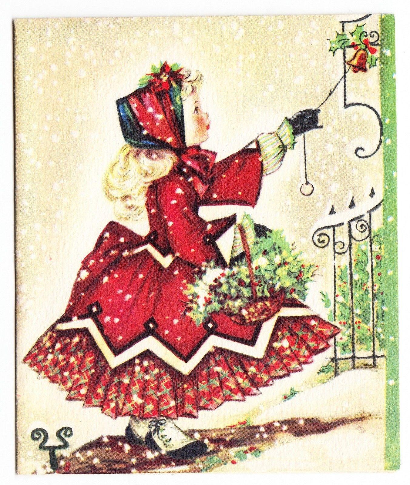Vintage beautiful little girl ringing doorbell at christmas christmas greeting cards kristyandbryce Choice Image