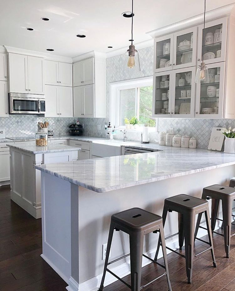 Love This Shape With Island White Kitchen Tiny Kitchen Design Kitchen Design Kitchen Layout