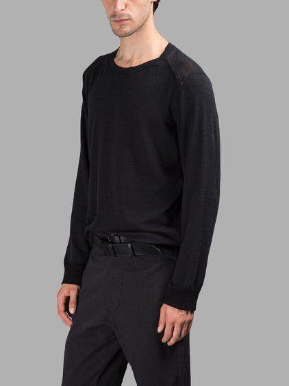 ANN DEMEULEMEESTER Ann Demeulemeester Men'S Black Knitted Sweater. #anndemeulemeester #cloth #knitwear