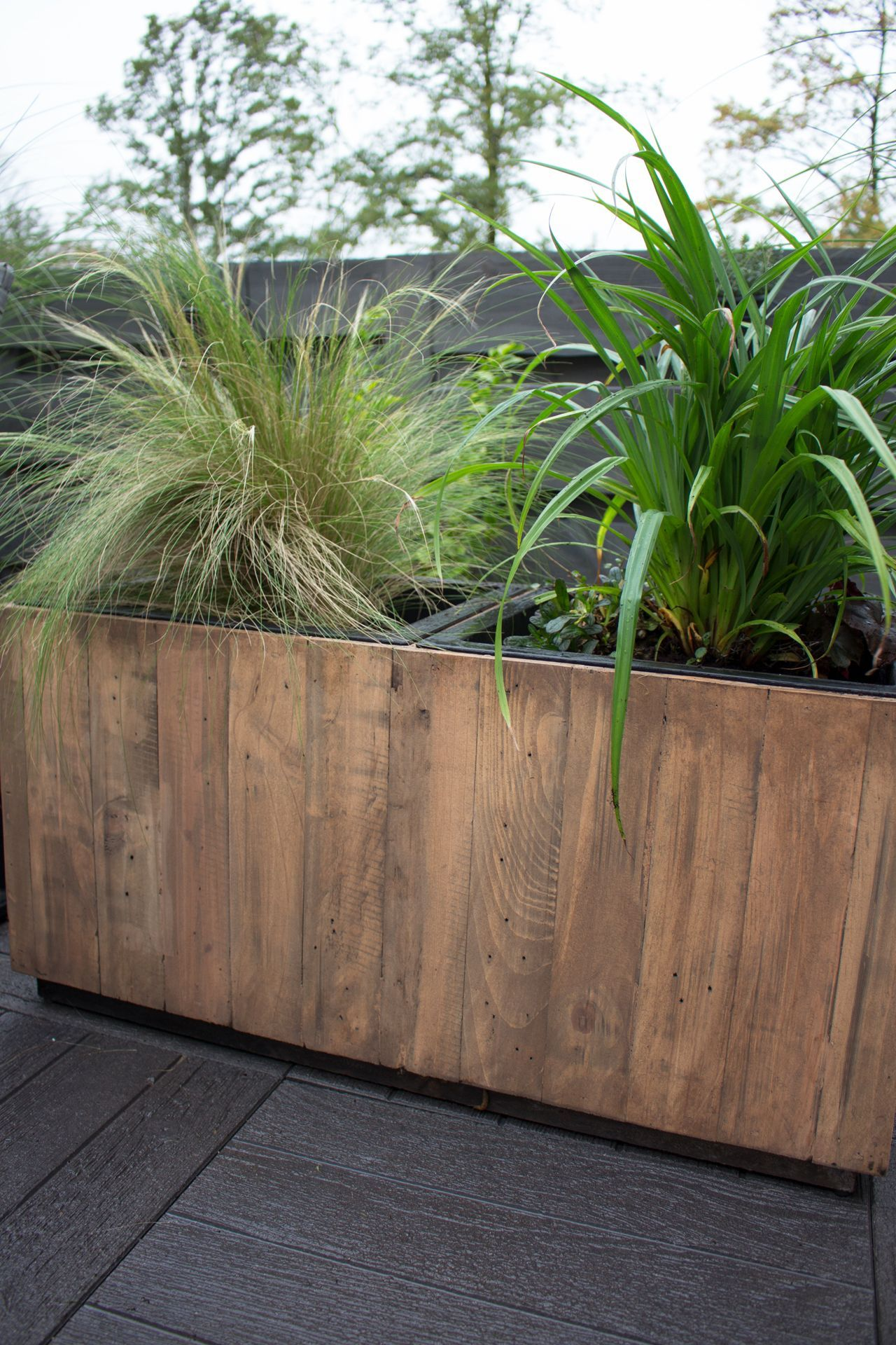 Pflanzkubel Pflanztrog Recycling Holz Maxi Antik Braun Plants
