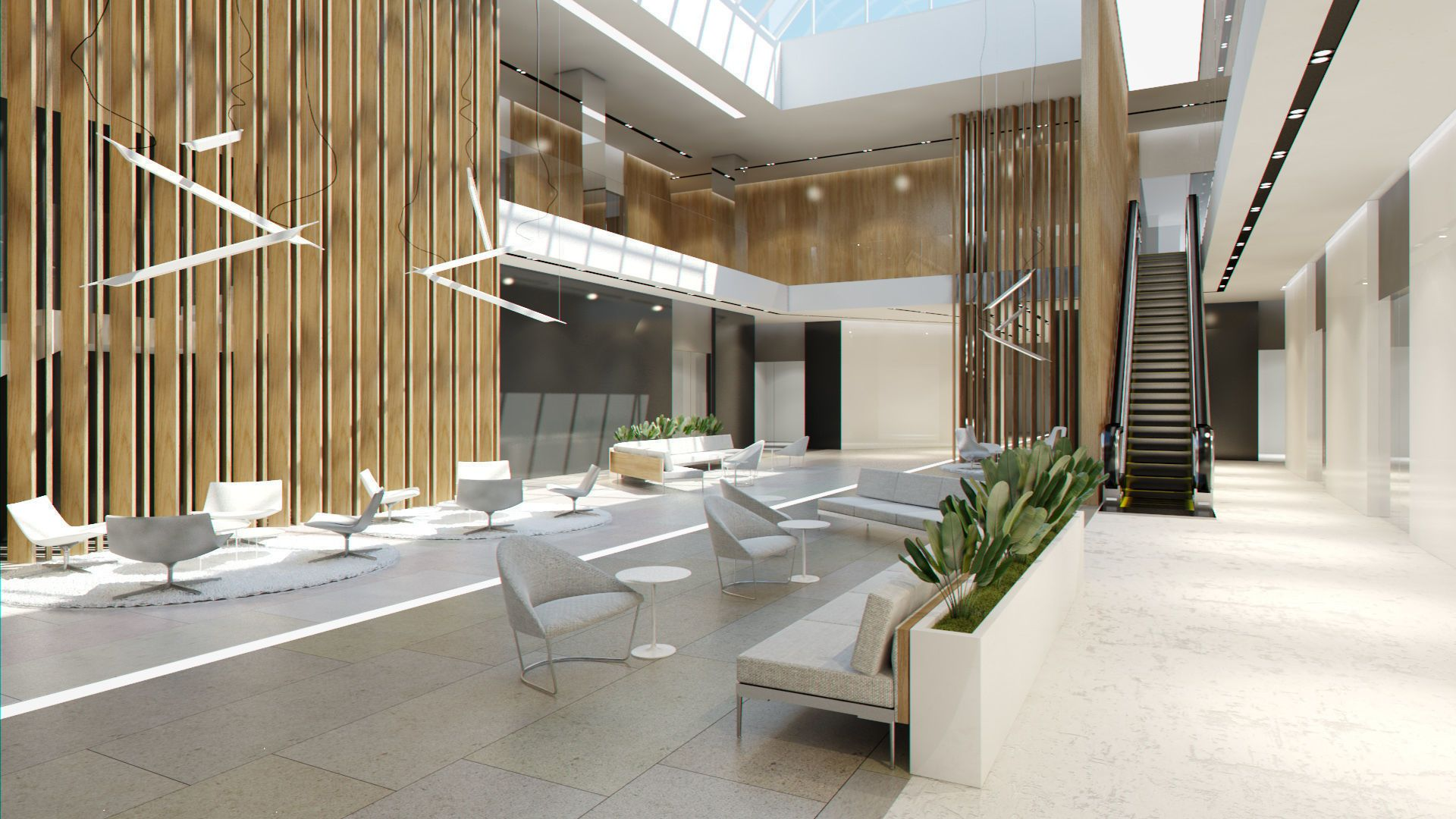 Lobby hall foyer office commercial business scene interior 3d model max obj fbx stl 3dm dwg 2