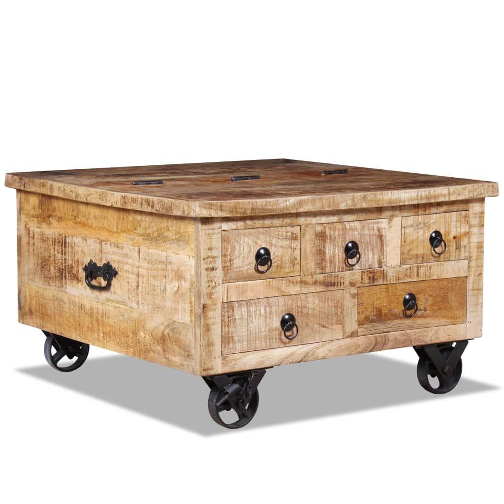 ZNTS Coffee Table Rough Mango Wood 70x70x40 cm 243979