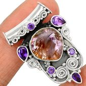 Cacoxenite Super Seven 7 Mineral Melody 925 Sterling Silver Pendant Jewelry CACP200 - JJDesignerJewelry