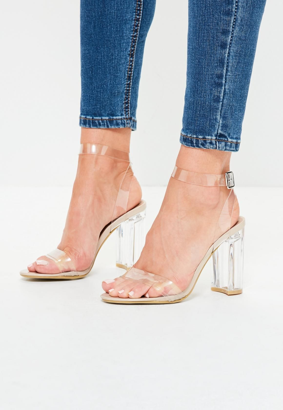 18d020e253be ... shop women s sandals with tracked delivery on all orders. Missguided -  nude clear block heel barely there sandals