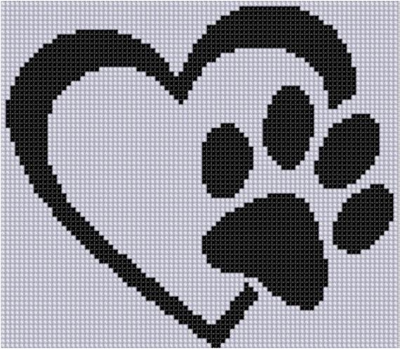 Paw Heart Cross Stitch Pattern   Punto de cruz, Puntos y Bordado