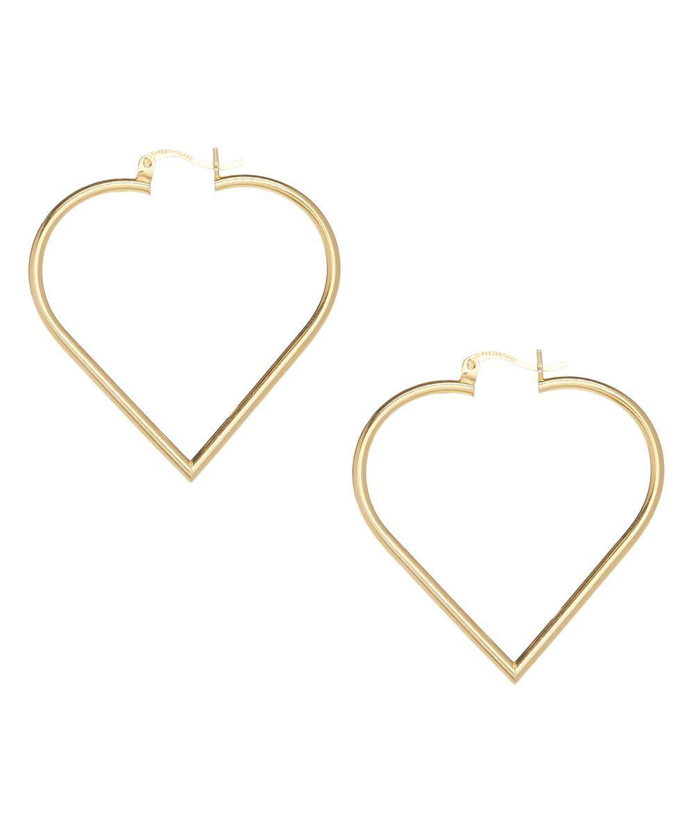 8fe2a3869ed17 Goldtone Plain Heart Hoop Earrings | Products | Earrings, Gold, Hoop ...